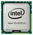 Intel Twelve-Core 64-bit Xeon E5-2670v3 processor - 2.3GHz (Haswell-EP, 30MB Level-3 cache size, 9.6 GT/s QPI (4800 MHz) 5 GT/s DMI) Front Side Bus (FSB), 120 Watt TDP (Thermal Design Power), FCLGA2011-3 (Flip-Chip Land Grid Array) socket)